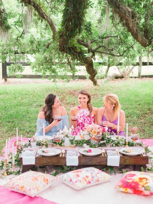 Girls sitting for picnic hen party