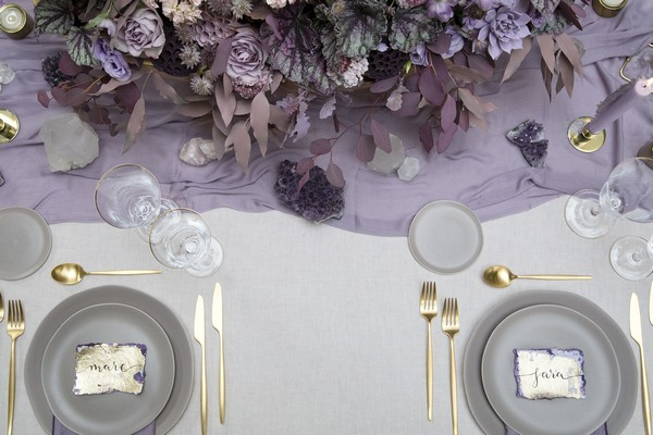 Amethyst inspired purple and gold wedding table styling