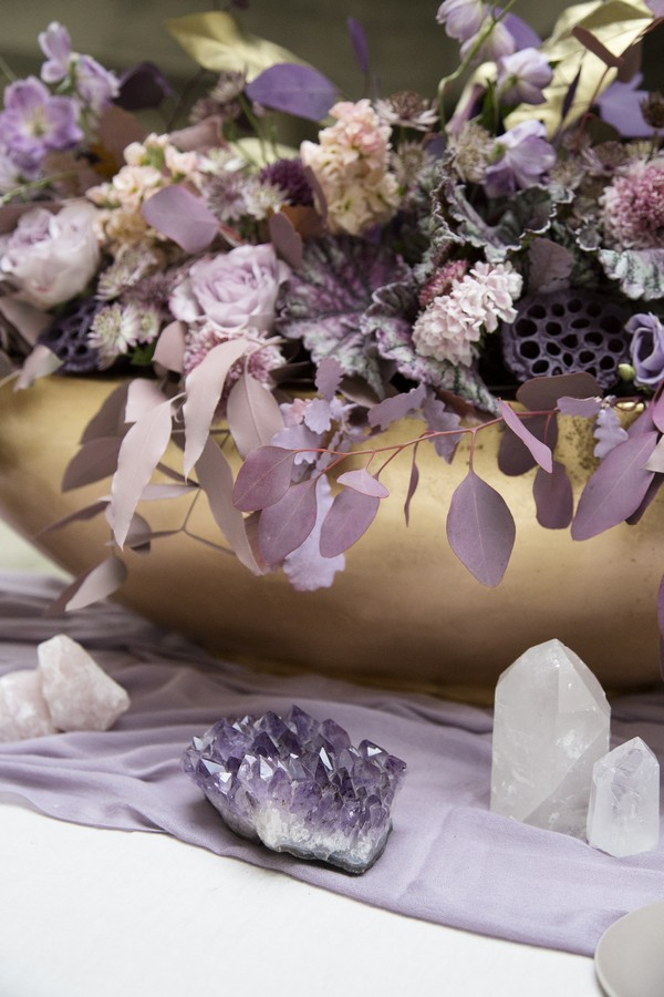 Amethyst on wedding table