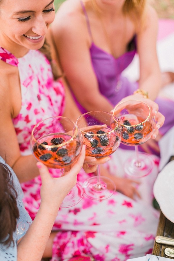 Girls toasting at hen party