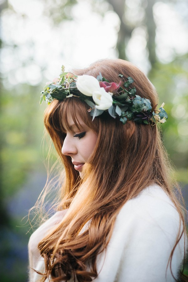 Bride with flower and foliage crown