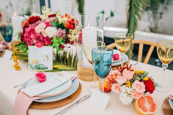 Bright and colourful tropical wedding table styling
