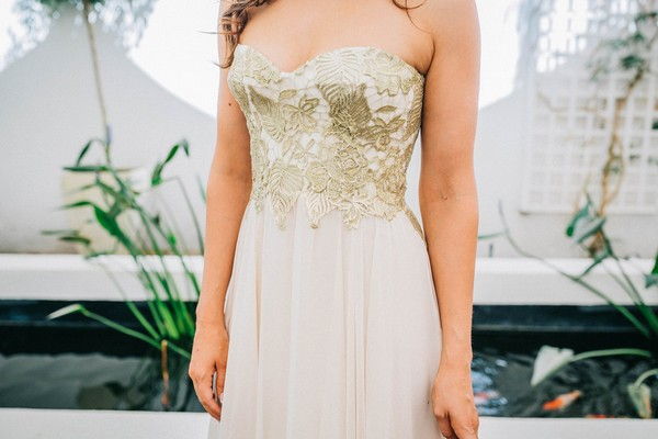 Robyn Roberts wedding gown with gold detail