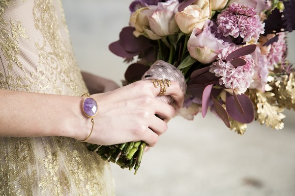 Bride's purple bracelet