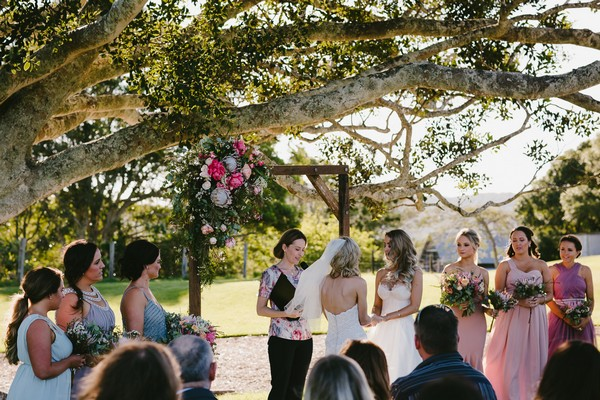 Outdoor wedding ceremony at Yandina Station