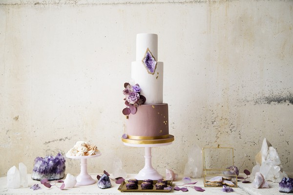 Purple and gold geode wedding cake