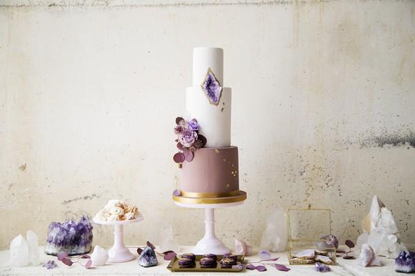 Purple and gold geode wedding cake
