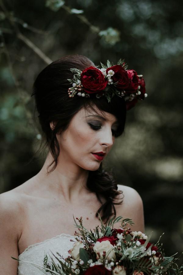 Bride wearing rose flower crown