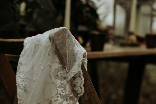 Veil over back of chair