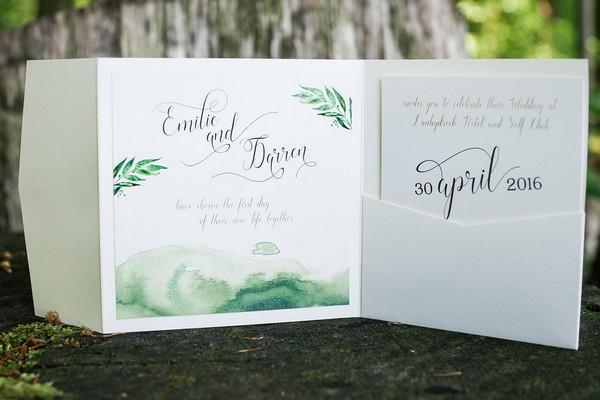 Green watercolour wedding invitation