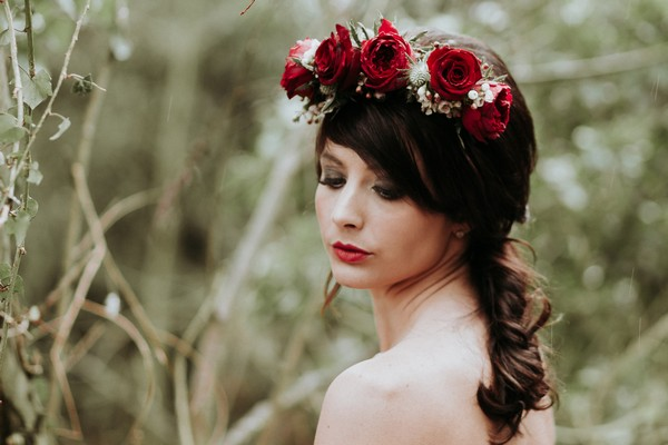 Bride with rose flower crown and ponytail