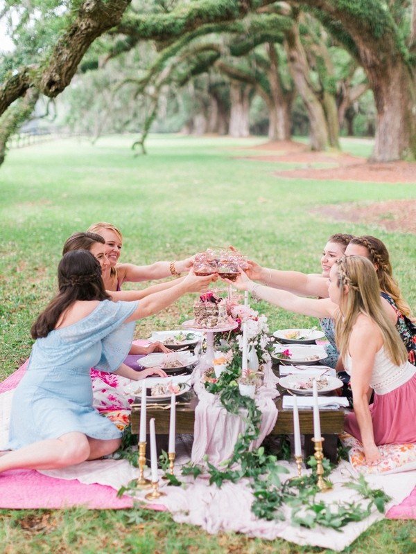 Girls on hen party picnic raising a toast