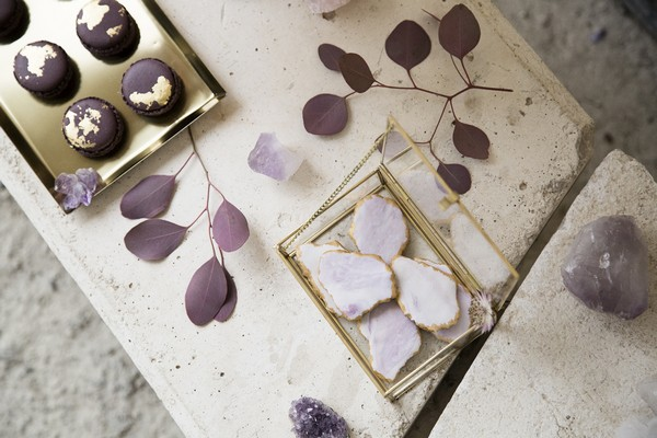 Purple leaves and iced biscuits