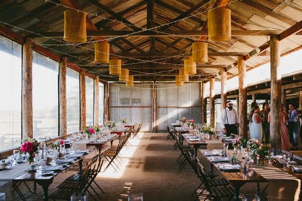 Wedding tables in Dairy Barn at Yandina Station