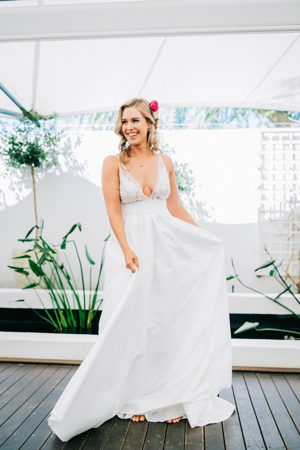 Bride wearing Robyn Roberts wedding gown