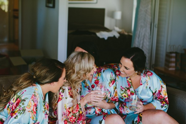 Bride and bridesmaids during morning preparations