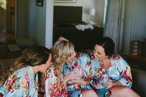 Bride and bridesmaids during morning preparations