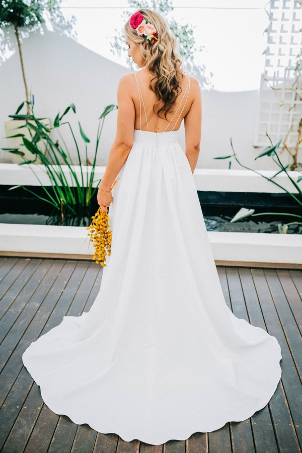 Back of bride's Robyn Roberts wedding gown