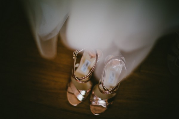 Gold Jimmy Choo bridal shoes
