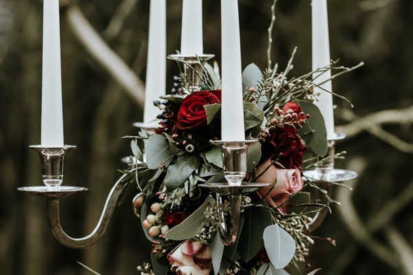 Candelabra with foliage and roses