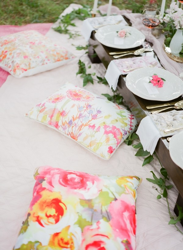 Bright floral picnic cushions