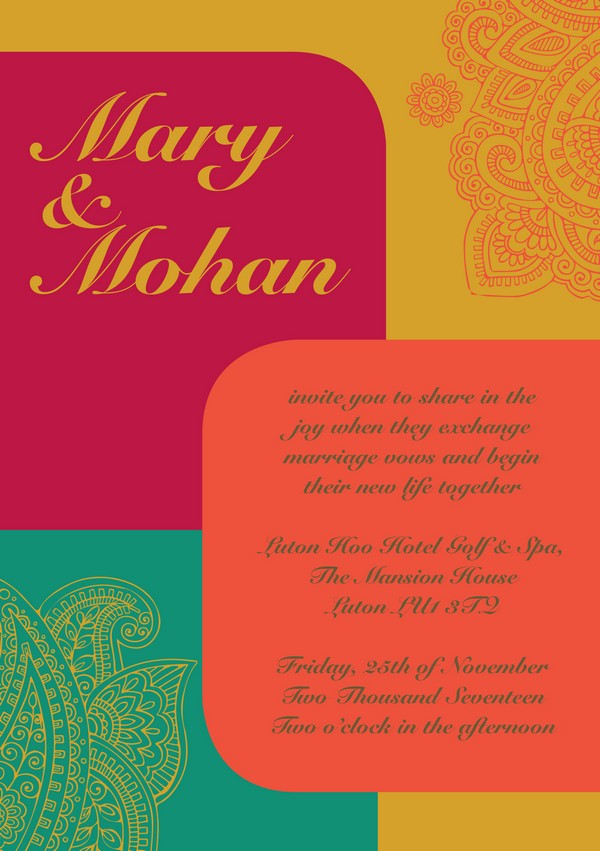 Pink, Orange, Green and Yellow Autumn Arrivals Indian Wedding Invitation