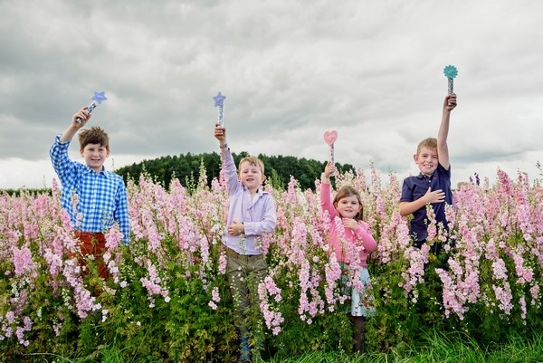 Children Holding Confetti Wands from Shropshire Petals