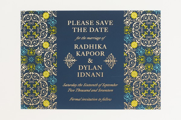 Blue Indian Wedding Save the Date