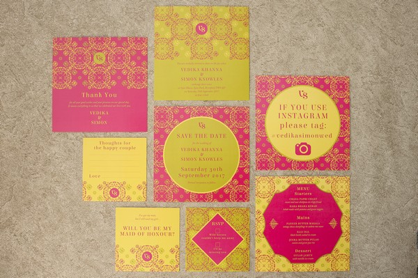 Pink and Gold Indian Wedding Stationery Suite