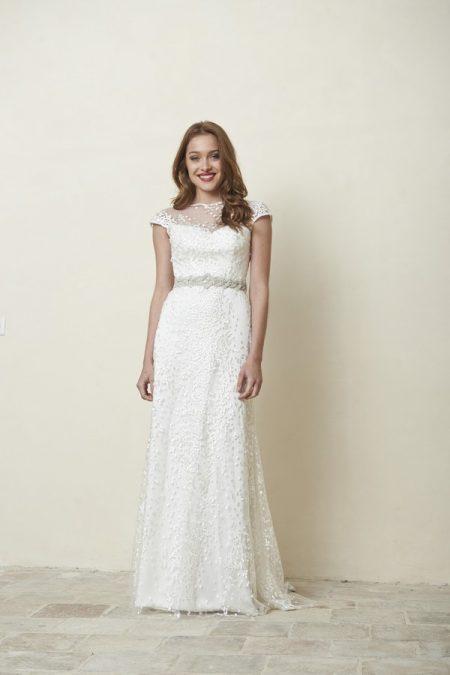 Luna Wedding Dress with Saffron Belt from the Stephanie Allin La Vie en Rose 2018 Bridal Collection