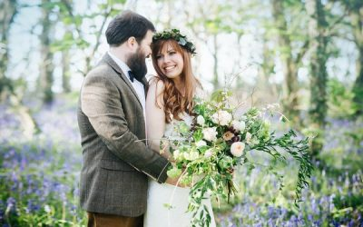 A Romantic Post-Wedding Shoot in Woodland with Bluebells