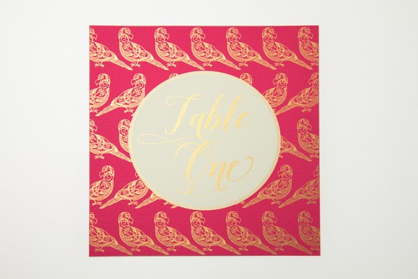 Pink and Gold Trio of Life Parrot Wedding Table Number