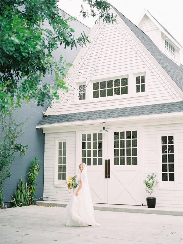 Bride outside Lombardi House
