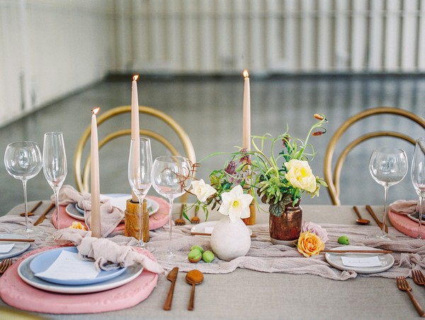 Modern Romantic wedding table styling