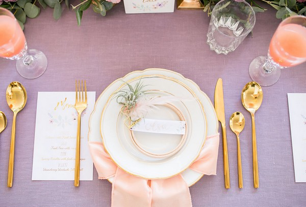 Wedding place setting with light peach napkin