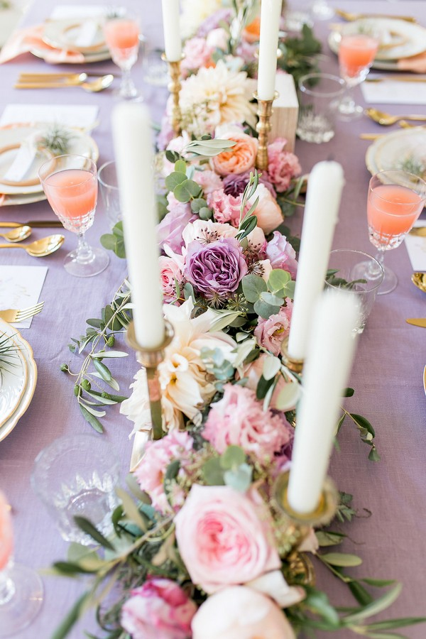 Floral wedding table runner