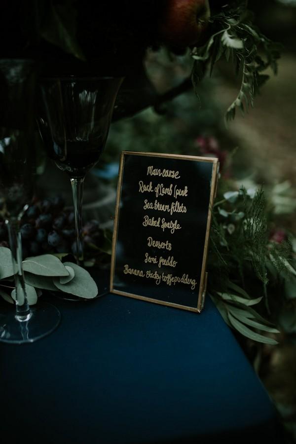 Wedding menu written on mirror