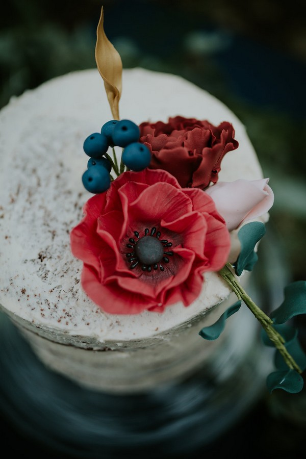 Red floral wedding cake topper