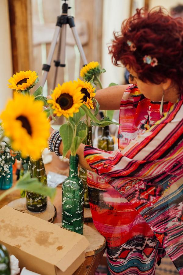 Sunflowers in bottles