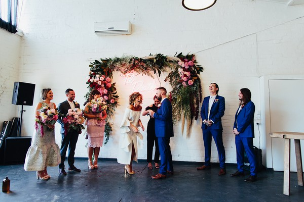 Wedding ceremony at Gather and Tailor