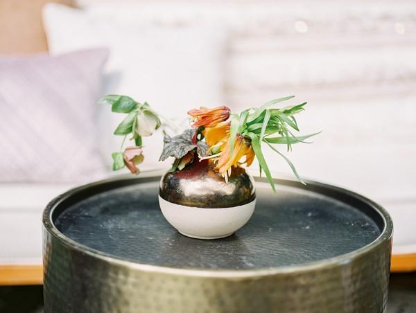 Round vase of flowers