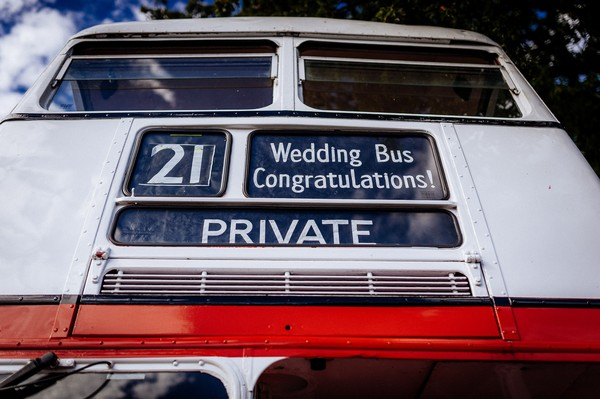 Front of wedding bus
