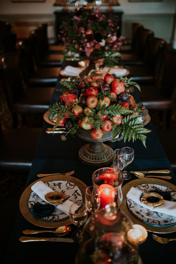 Apple anf foliage wedding table display