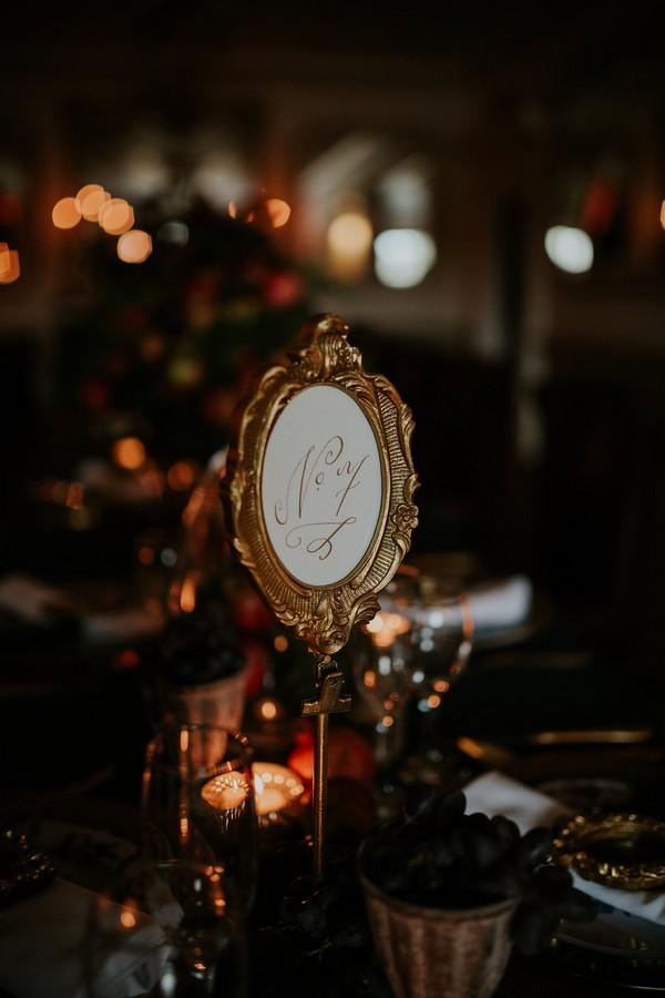 Georgian style wedding table number