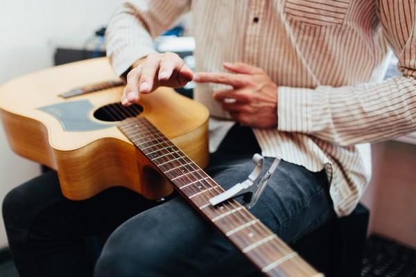 Acoustic guitarist performing at wedding