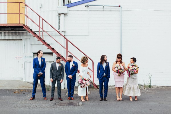Bridal party outside Gather and Tailor warehouse