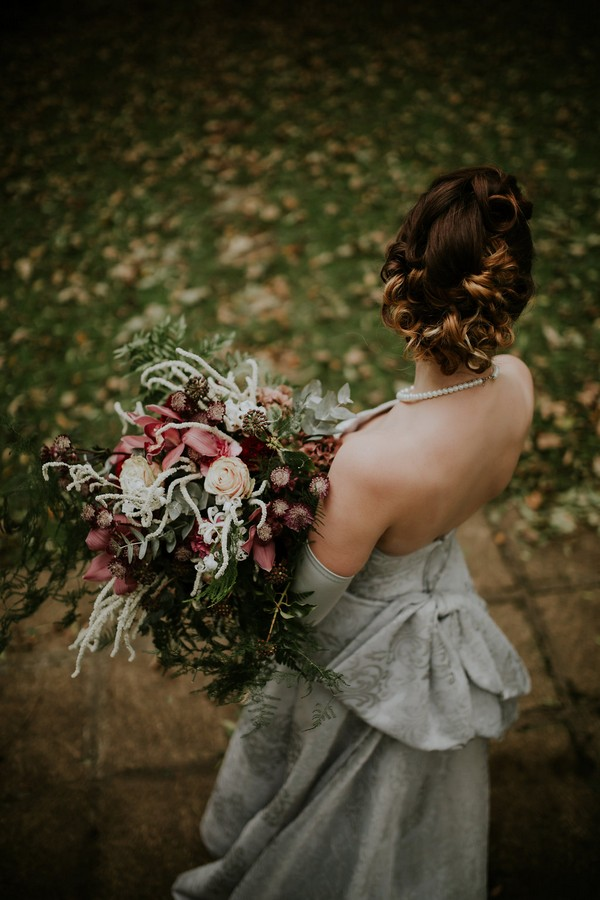 Back of bride's updo hairstyle
