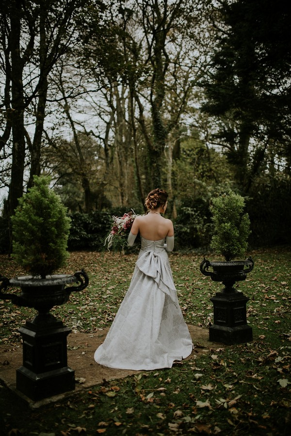 Back of bride's silver dress