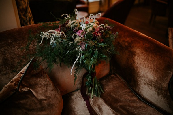 Large bouquet on couch