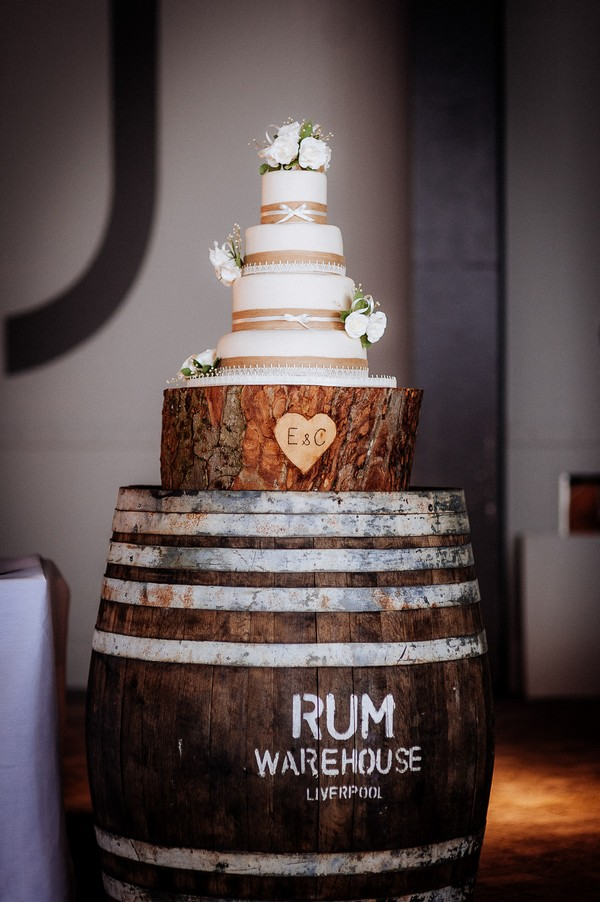 Wedding cake on rum barrel